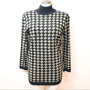 Vintage black and gold houndstooth sweater tunic